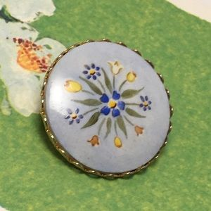 Vintage Hand Painted Flower Pin